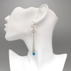 Earrings, Squash Blossom Turquoise on Sterling Hoop