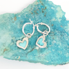 Earrings, Tiny Hearts Turquoise on Hoops in Sterling