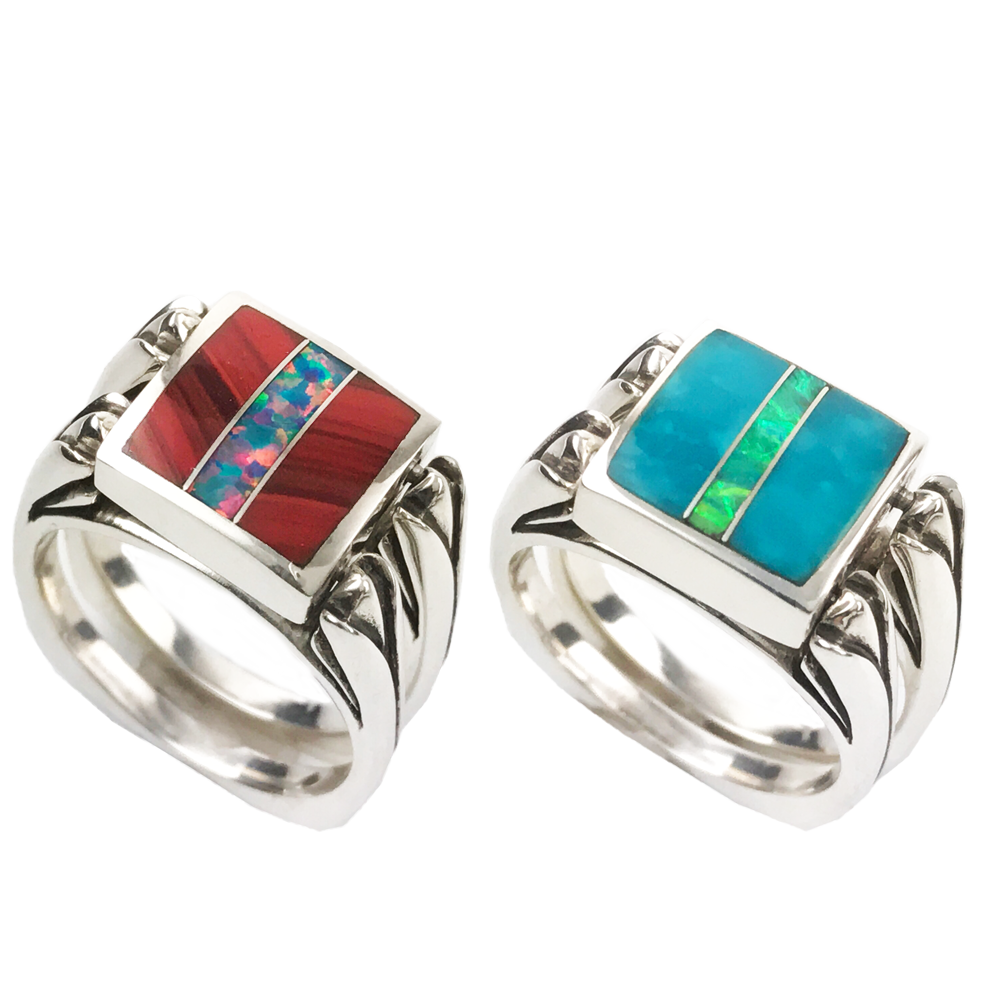 Perfectly Paired, 3pc Inlay with Opal Center, in Sterling, Clear Turquoise with Roserita