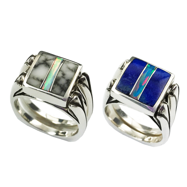 Perfectly Paired | 3pc Inlay with Opal Center & Sterling Silver Shanks | Lapis with White Buffalo - Gloria Sawin Fine Jewelry