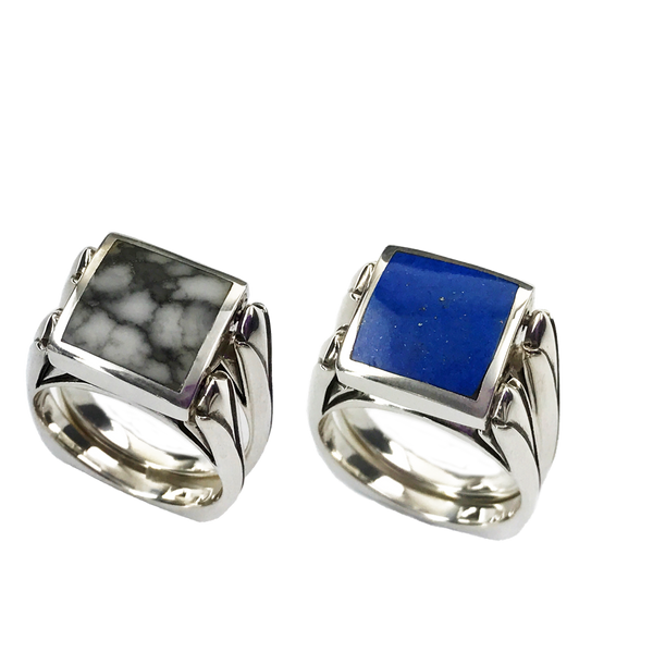 Perfectly Paired | Solid Stone Inlay & Sterling Silver Shanks | Lapis with White Buffalo - Gloria Sawin Fine Jewelry