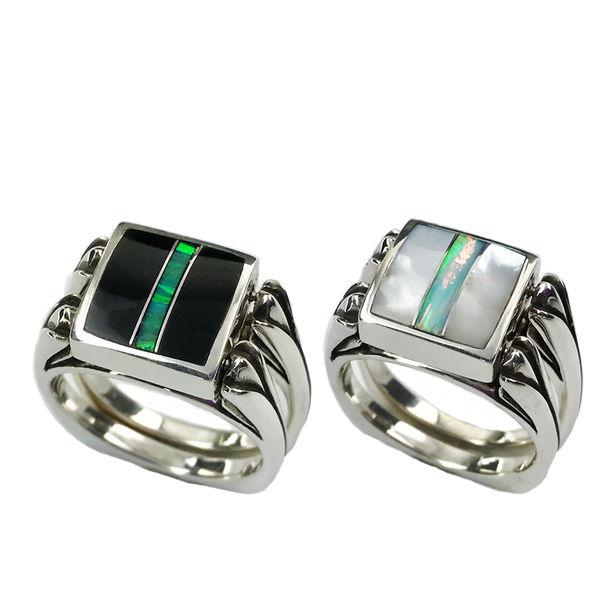 Perfectly Paired | 3pc Inlay with Opal Center & Sterling Shanks | Black Jade with Mother of Pearl - Gloria Sawin Fine Jewelry