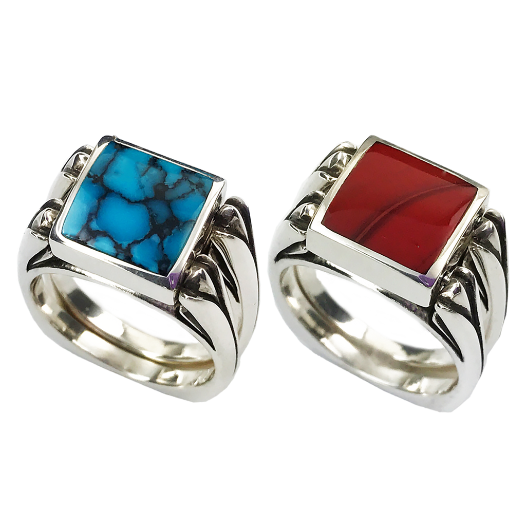 Perfectly Paired, Solid Stone Inlay & Sterling Silver Shanks, Matrix Turquoise with Roserita