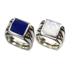 Perfectly Paired | Solid Stone Inlay & Sterling Silver Shanks | Mother-of-Pearl with Lapis - Gloria Sawin Fine Jewelry
