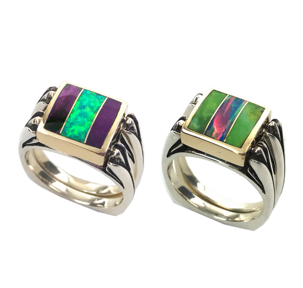 Perfectly Paired | 3pc Inlay | Opal Center & Sterling Shanks | Sugilite with Green Turquoise - Gloria Sawin Fine Jewelry