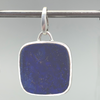 Pendant, Large Pillow Shape in Sterling and Lapis