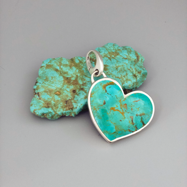 Pendant,Tyrone NM Turquoise Large Heart in Sterling