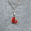 Pendant, Red Millefiori Glass Heart Medium in Sterling