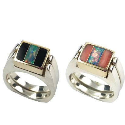 Dynamic Duo | 3pc Inlay with Opal Center & Silver | Black Jade - Opal/Pink Coral - Opal