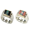 Dynamic Duo, 3pc Inlay with Opal Center, & 14k Base Sterling Shanks Black Jade - Opal/Pink Coral - Opal