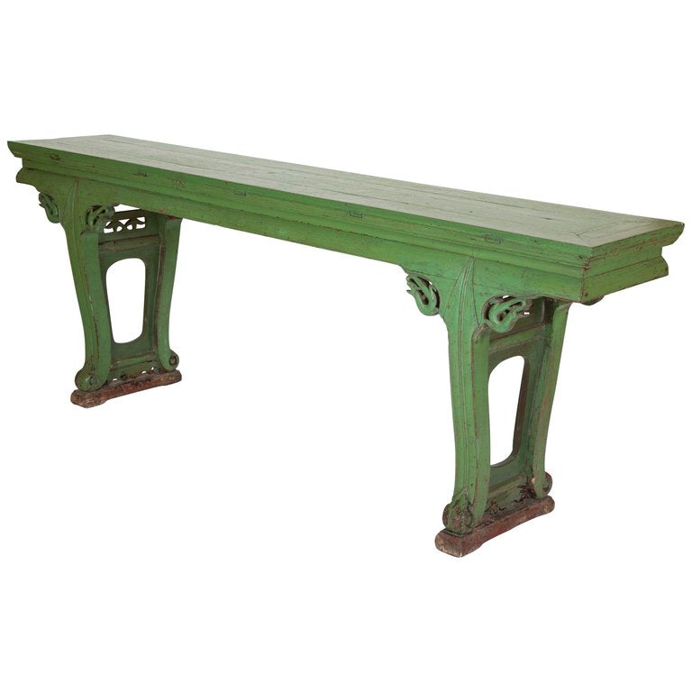 Green Painted Chinese Console Table, Large Scale