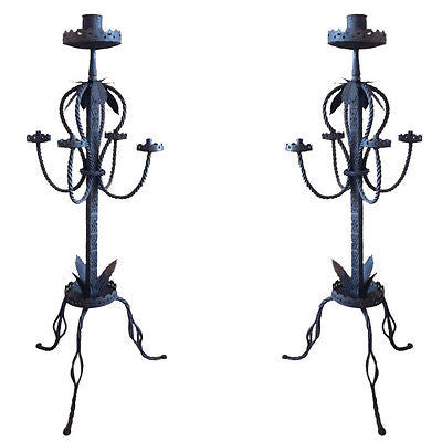 PAIR ITALIAN WROUGHT IRON TORCHERES CANDELABRA