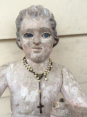 Spanish Colonial El Nino Carving with Glass Eyes