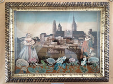 18th Century French Diorama with Decoupage Decoration- View of Rouen Cathedral