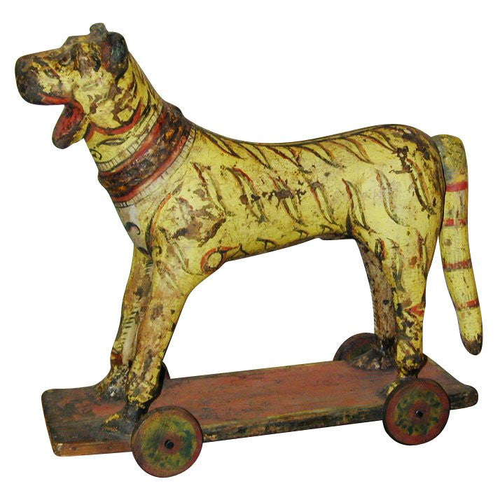 Persian Qujar Papier Mache Tiger Toy, 19th Century