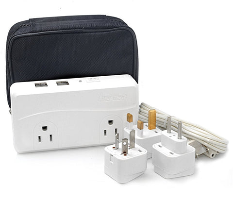 LiteFuze 200W Voltage Converter International Travel 220V to 110V Power Adapter Four 2.4A USB Ports Carrying Bag