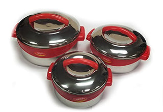 Milton Regent Hot Pot 3 piece Insulated Casserole Gift Set Keep Warm/Cold Up, Full Stainless Steel Red - Popularelectronics.com