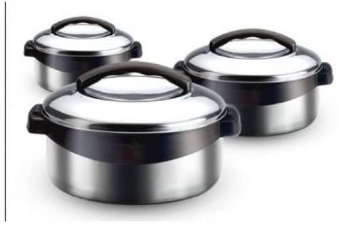 Milton Regent 3-PC All Stainless Steel Thermo Hot Pot Insulated Casserole Keeps Food Warm / Cold for Upto 4-6 Hours