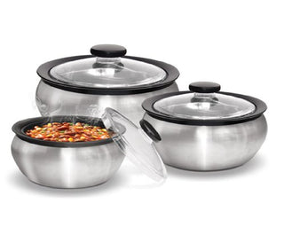 Milton 600/1500/2000ml 3-Piece Thermo Hot-Pot Insulated Casserole Gift Set, Medium, Steel