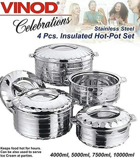 Vinod 4-Piece Insulated Casserole Food Warmer/Cooler Hot Pot Gift Set, 4000mL+5000mL+7500mL+10000mL, Stainless Steel