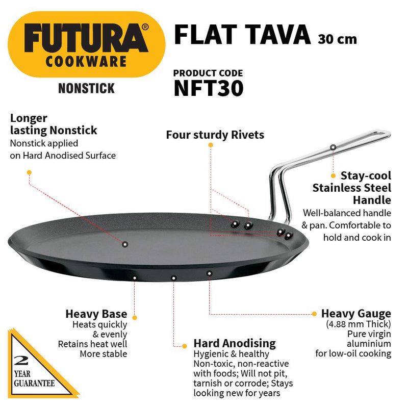 Hawkins Futura Nonstick Flat Tava, Diameter 30 cm, Thickness 4.88 mm, Black (NFT30)