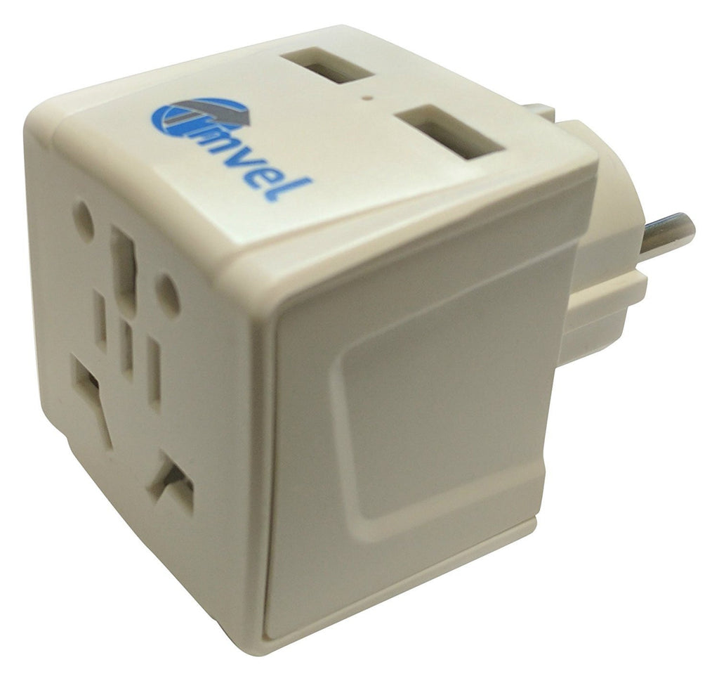 Tmvel 2 USB with Universal Input Schuko Travel Adapter Plug with for Grounded Type E/F for iPhone/iPad, Galaxy & More - Popularelectronics.com