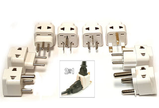 2-In-1 International World Universal Power Plug Travel Adapter Set, 8 Packs - Popularelectronics.com