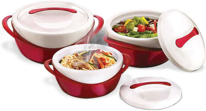 Pinnacle Thermoware 3 Pc. Set Casserole Dish - Large Soup and Salad Bowl Set - Insulated Serving Bowl With Lid - 2.6 qt. 1.25 qt. .6 qt.