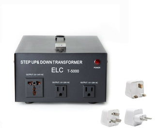 5000 Watt Best International Power Voltage Converter Transformer - Step Up/Down - 110V/220V - With Worldwide UK/US/AU/EU European Plug Adapter - 3 Outlets - Popularelectronics.com