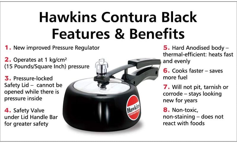 Hawkins Hard Anodised Pressure Cooker, Contura Black