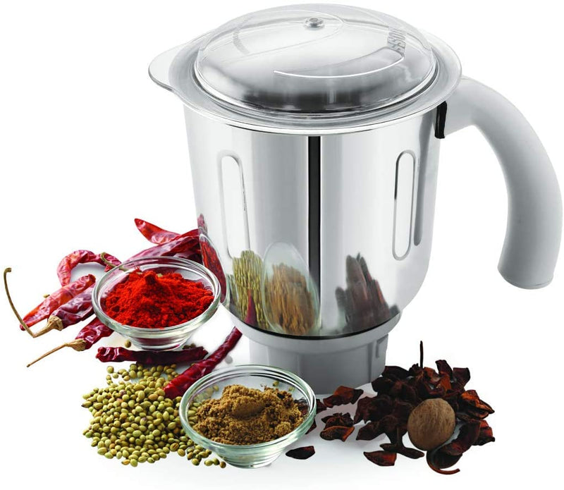 BOSS Crown Mixer Grinder, Jar Capacity: Wet Jar-1400 Dry Jar-1150 Chutney Jar-450 ML, White & Grey