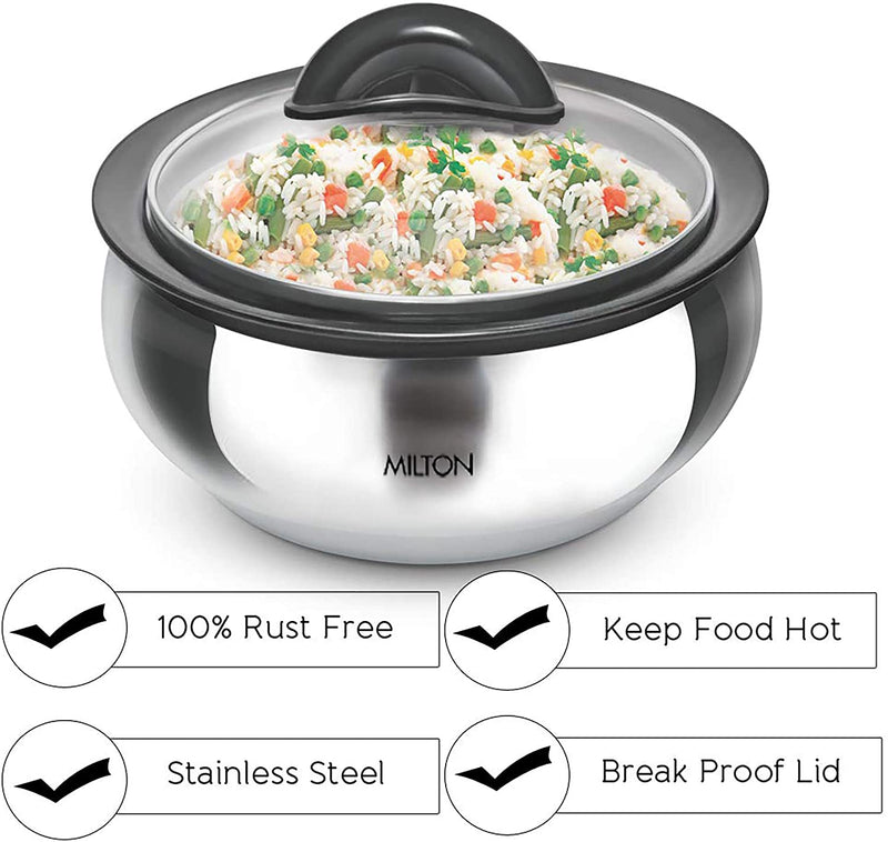 Milton Clarion Jr Thermo Stainless Steel Insulated Casserole Keep Hot/Cold Serving Dish Gift Set 600/ 1500/ 2000 - Glass Lid