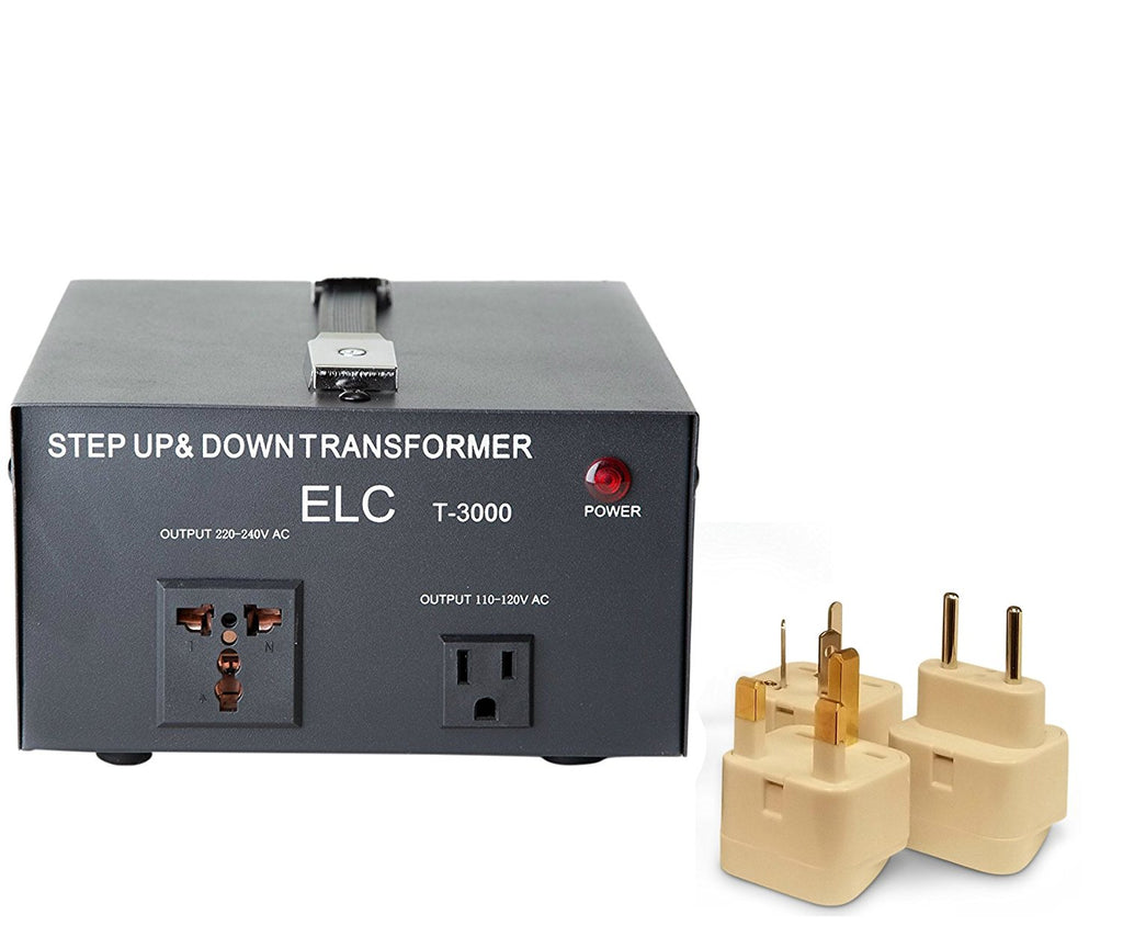 3000 Watt Best International Power Voltage Converter Transformer - Step Up/Down - 110V/220V - With Worldwide UK/US/AU/EU European Plug Adapter - 2 Outlets