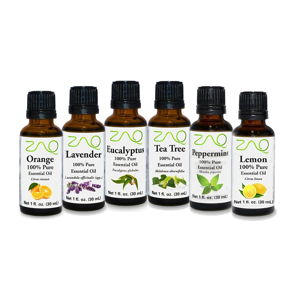ZAQ Aromatherapy Top 6 100% Pure Therapeutic Essential Oil Gift Set- 1 Oz (Lavender, Tea Tree, Eucalyptus, Lemon, Orange, Peppermint) - Popularelectronics.com