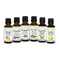 ZAQ Aromatherapy Top 6 100% Pure Therapeutic Essential Oil Gift Set- 1 Oz (Lavender, Tea Tree, Eucalyptus, Lemon, Orange, Peppermint)