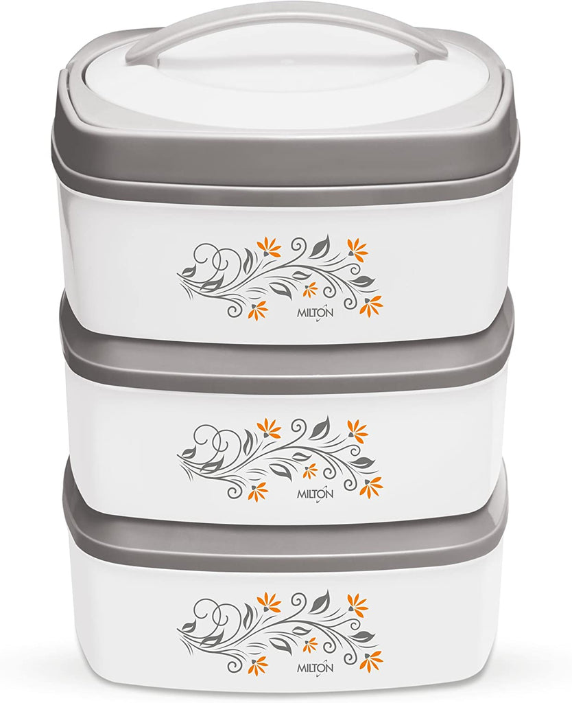 Milton Travel Mate Stackable 3-Pc Insulated Keep Hot/Cold Thermal Casseroles with Stainless Steel Inner, Easy to Carry and Store Pack, Grey