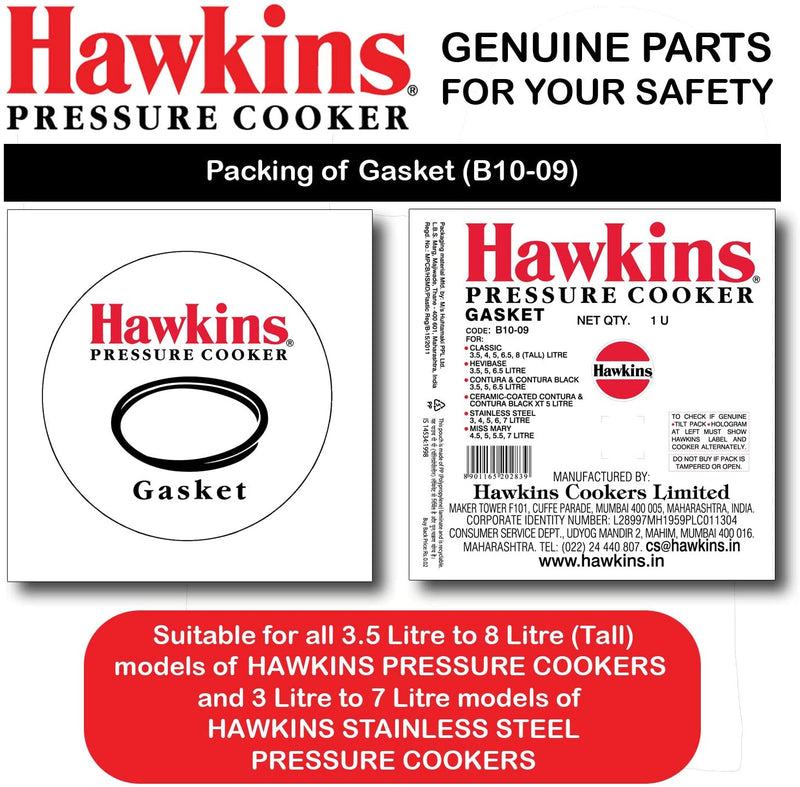 Hawkins Gasket for 3.5 to 8-Liter Pressure Cooker Sealing Ring, Medium