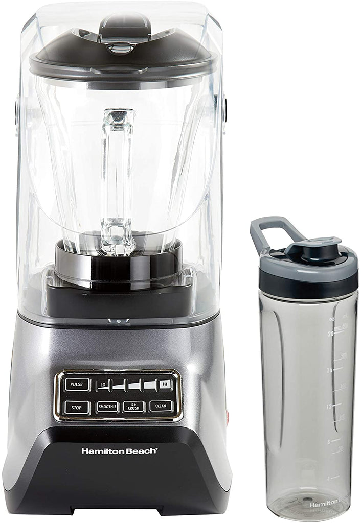 Hamilton Beach SoundShield 5-Speed Blender, 950 Watts, Ice Crush and Clean Programs, 52oz Glass + Portable Jars, Blends Food, Shakes and Smoothies (53602c)