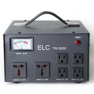 ELC TR-5000 5000 Watt Voltage Regulator with Transformer Step Up Down 110V/220V Circuit Breaker Protection - Popularelectronics.com