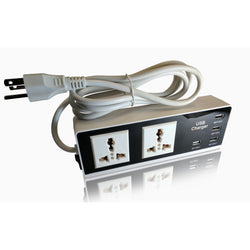 Tmvel 2500W 2 Outlet Surge Protector Power Strip with 4 Ports USB Charger - International Dual Voltage - Popularelectronics.com