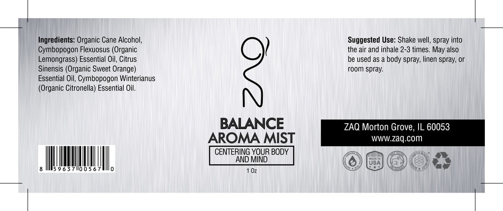 ZAQ Balance Aroma Essential Oil Mist 1OZ - Centering your body and mind - Popularelectronics.com