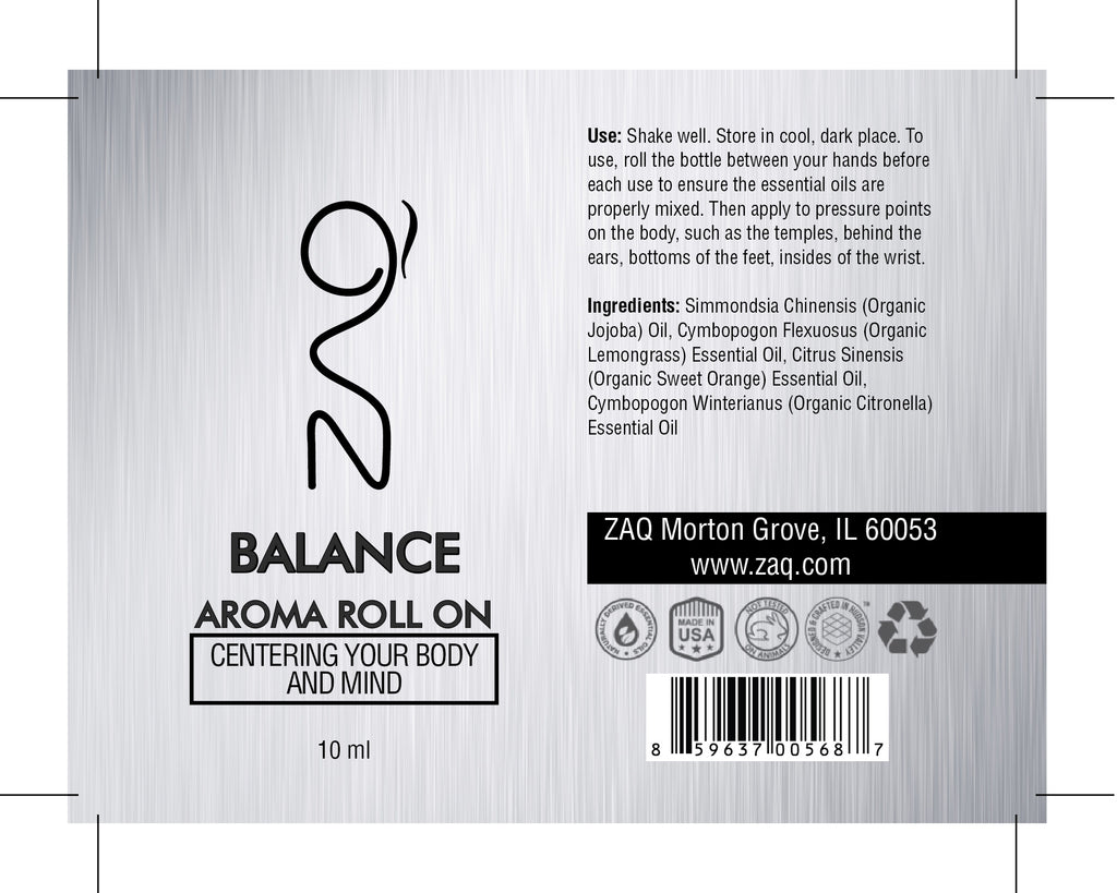 ZAQ Balance Aroma Essential Oil Roll On - Centering your body and mind - Popularelectronics.com