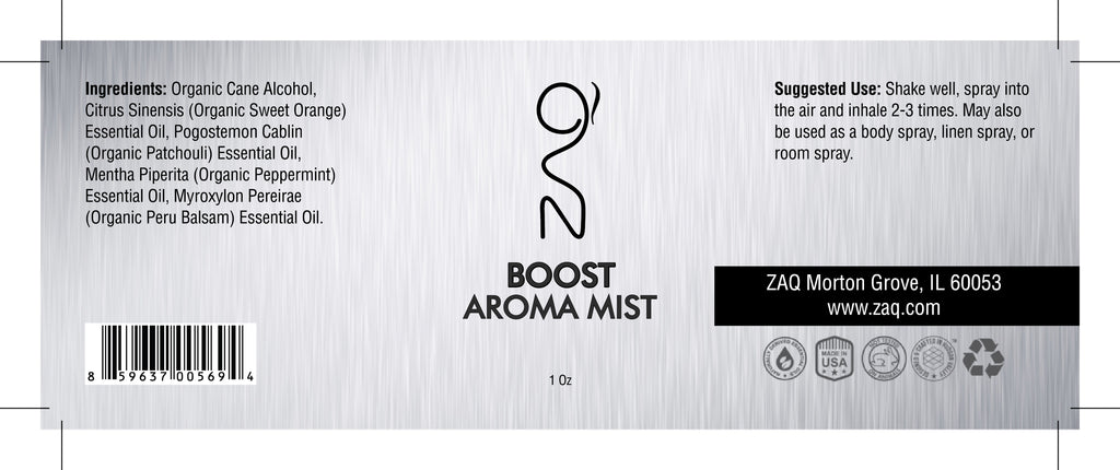 ZAQ Boost Aroma Essential Oil Mist 1OZ - Boost your mind and body - Popularelectronics.com