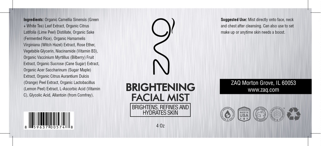ZAQ Brightening Organic Sake + Lime Facial Mist 4oz - Brightens, Refines And Hydrates Skin - Popularelectronics.com
