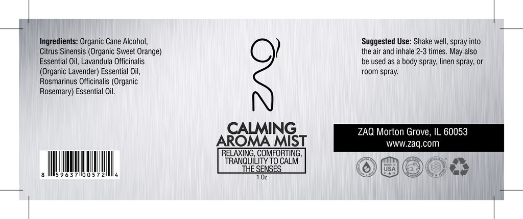 ZAQ Calming Aroma Essential Oil Mist 1OZ - Relaxing, Comforting, Tranquility to calm the senses - Popularelectronics.com