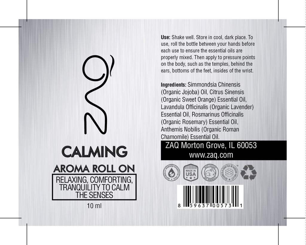 ZAQ Calming Aroma Essential Oil Roll On - Relaxing, Comforting, Tranquility to calm the senses