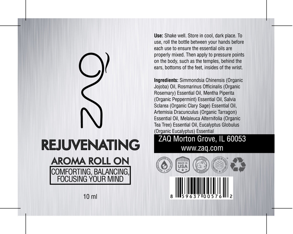 ZAQ Rejuvenating Aroma Essential Oil Roll On - Comforting, Balancing, Focusing your mind - Popularelectronics.com
