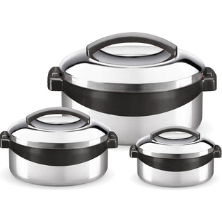 Milton Regent Hot Pot 3 piece Insulated Casserole Gift Set Keep Warm/Cold Up, Full Stainless Steel - Popularelectronics.com