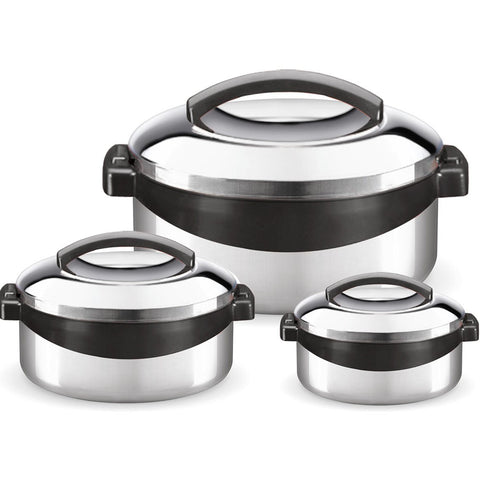 Milton Regent Hot Pot 3 piece Insulated Casserole Gift Set Keep Warm/Cold Up, Full Stainless Steel