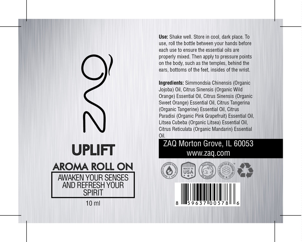 ZAQ Uplift Aroma Essential Oil Roll On - Awaken your senses and refresh your spirit - Popularelectronics.com